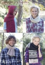 Hayfield Chunky Tweed Knitting Pattern - 7494 Scarves & Snood